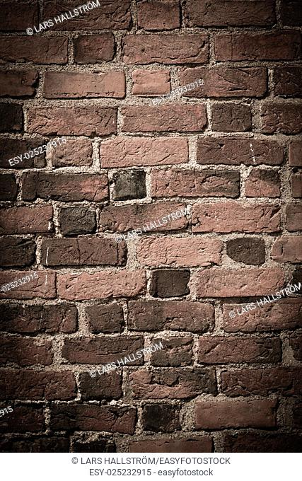 Empty brick wall. Grungy bricks with nice texture. Background with copy space