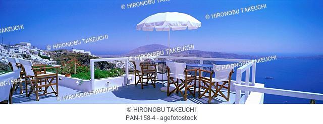 Patio Overlooking Aegean Sea, Santorini, Greece, No Release