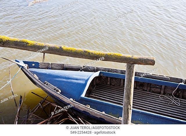 Albufera channel boat in el Palmar of Valencia Spain