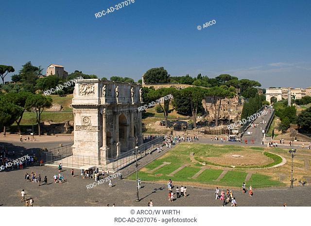 Triumphal Arch of Constantine, view on church San Bonaventura al Palatino and Foro Romano, Rome, Lazio, Italy, Arco di Constantino