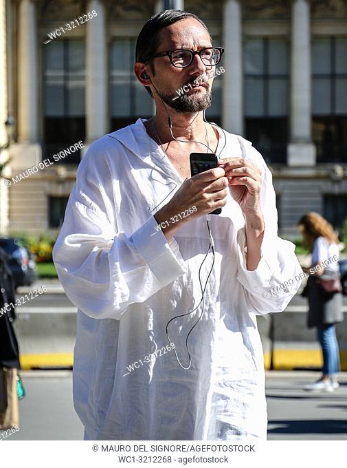 PARIS, France- September 27 2018: Men on the street during the Paris Fashion Week