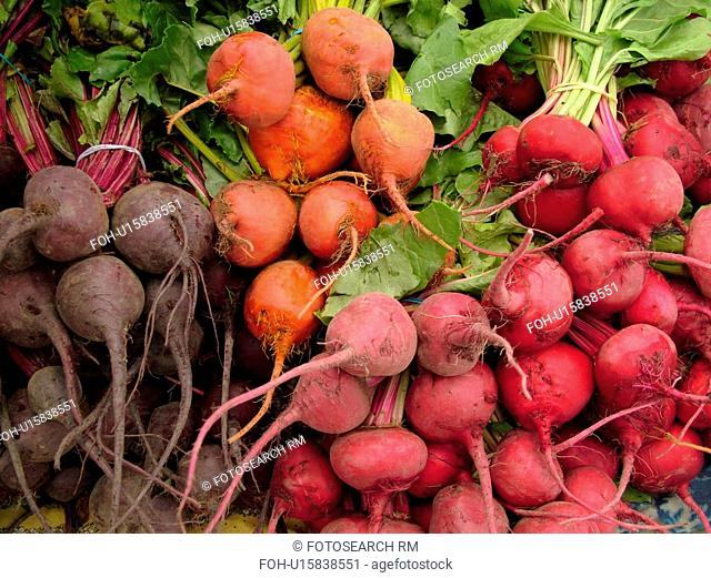 Montpelier, VT, Vermont, Farmer's Market, Baby Chioggia, beets, red