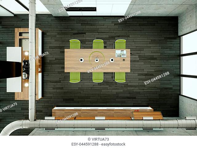 3d Illustration of white modern kitchen in a house with concrete wall