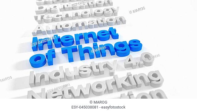3d render - internet of things in blue over white background with shadows - depth of field