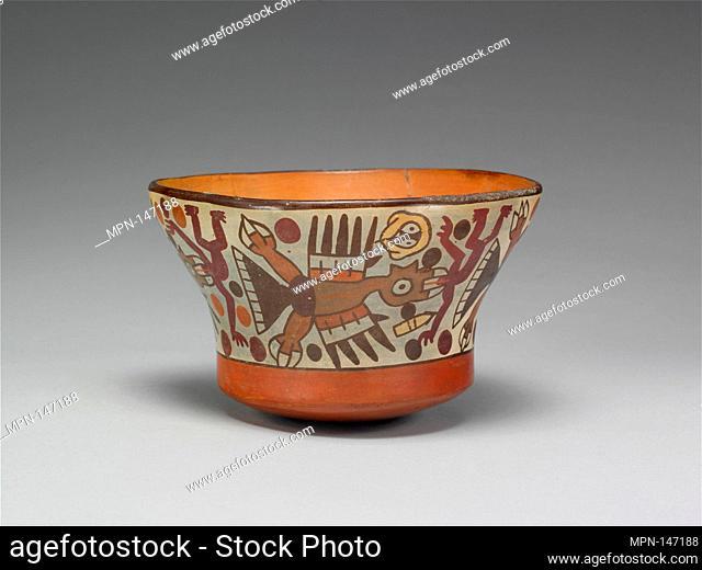 Bowl. Date: 2nd-4th century; Geography: Peru; Culture: Nasca; Medium: Ceramic; Dimensions: H x W x D 3 3/8 x 5 1/2 x 7 3/4 in. (8.6 x 14 x 19
