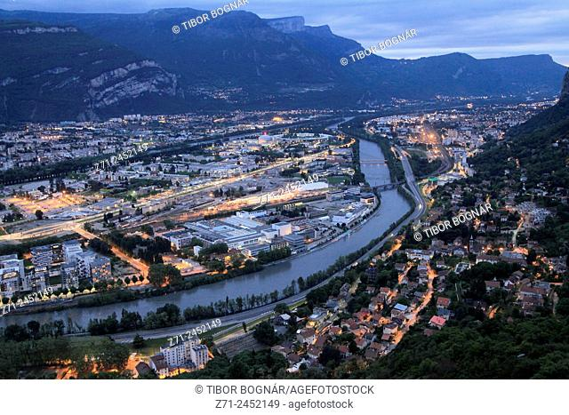 France, Rhône-Alpes, Grenoble, skyline, general aerial view, night, Isère River