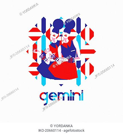 Twin fashion models in geometric pattern as gemini zodiac sign