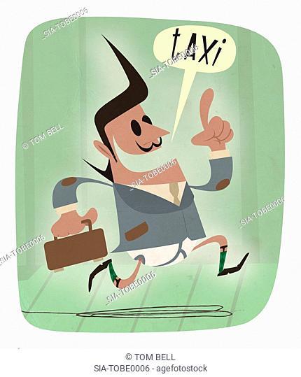 Man ordering taxi