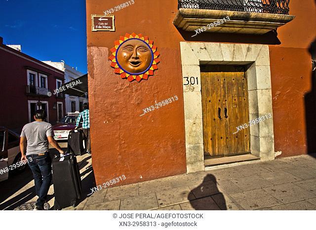 Decorative sun, 5 de Mayo street, colonial building, Historical Center of the city of Oaxaca Oaxaca de Juárez, Oaxaca State, Mexico, Central America