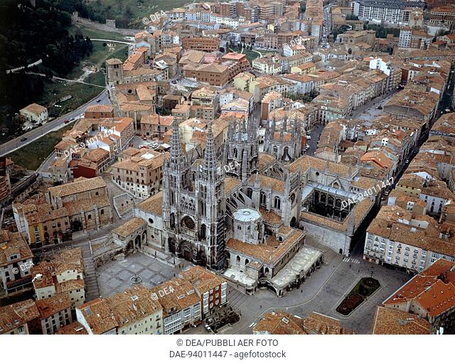 Aerial view of Saint Mary Cathedral (UNESCO World Heritage List, 1984) in Burgos - Castilla y Leon, Spain