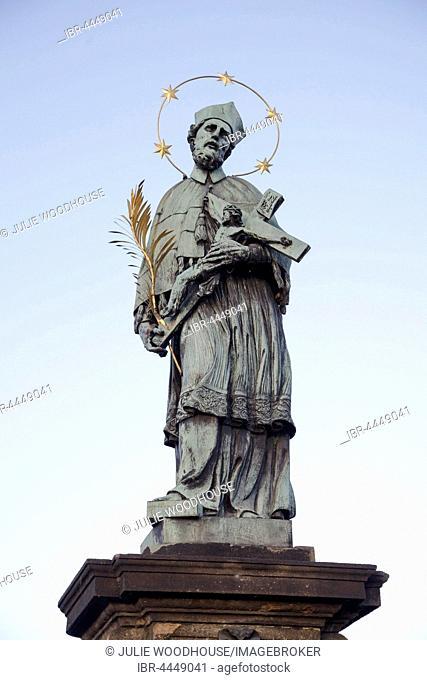 Statue of John of Nepomuk on Charles Bridge, Prague, Czech Republic