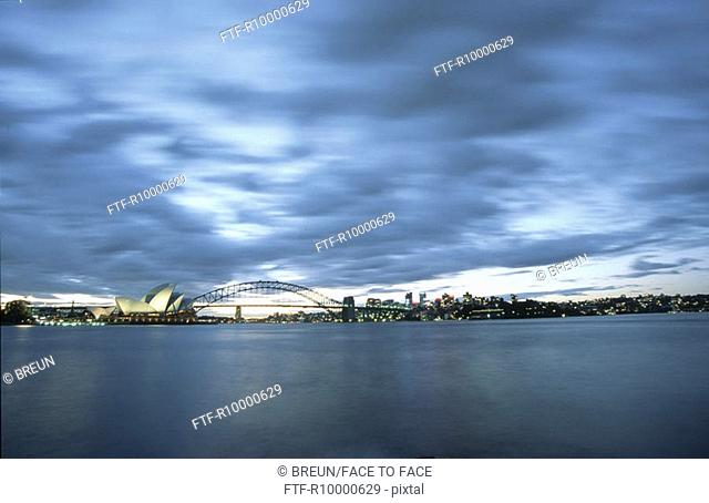 Sydney, Harbour Bridge, the Opera and North Shore at dawn from the Domain view