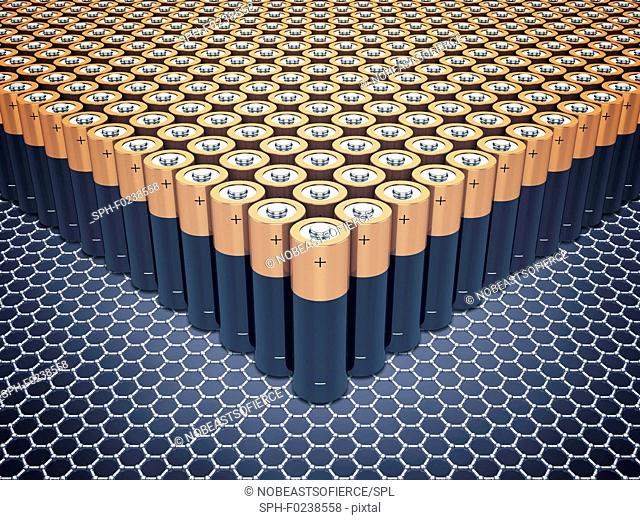 Graphene batteries, conceptual illustration