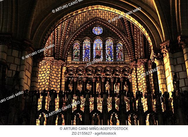 The Primate Cathedral of Saint Mary, Gothic, XIII-XV centuries, arch and stained-glass windows, Toledo, Spain