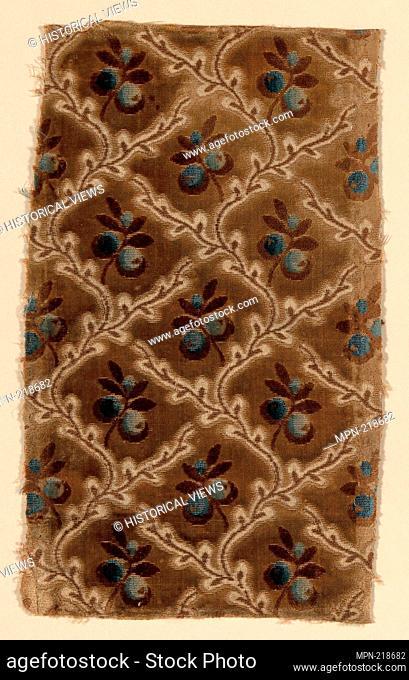 Fragment - 1750/75 - France - Origin: France, Date: 1750-1775, Medium: Silk, cut, uncut, and voided velvet against satin weave foundation, Dimensions: 23