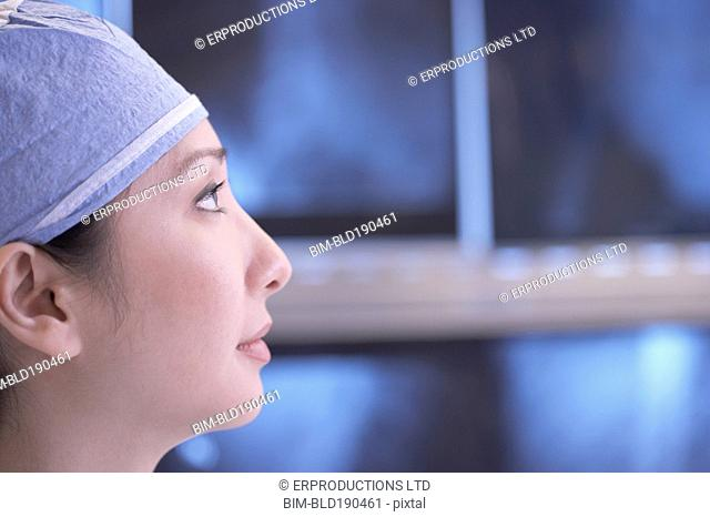 Profile of Asian female medical professional
