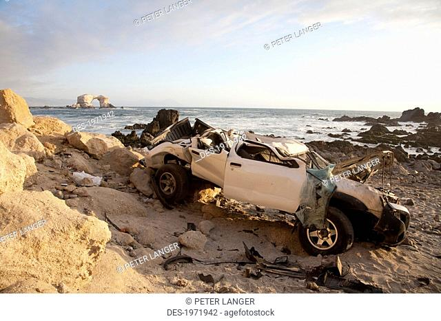 Truck Which Drove Over The Cliff By La Portada De Antofagasta, Antofagasta Region, Chile