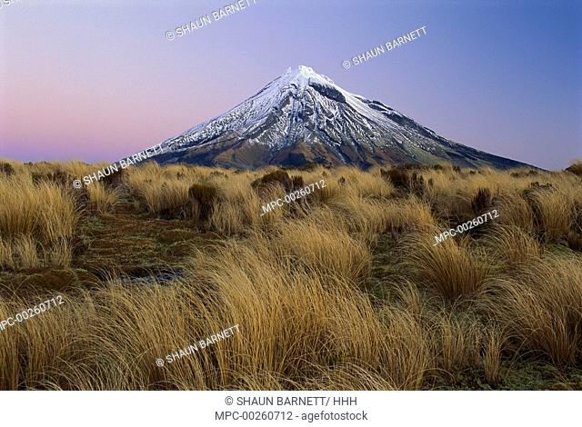 Mount Taranaki at dusk from Pouakai Range, Mount Egmont National Park, New Zealand