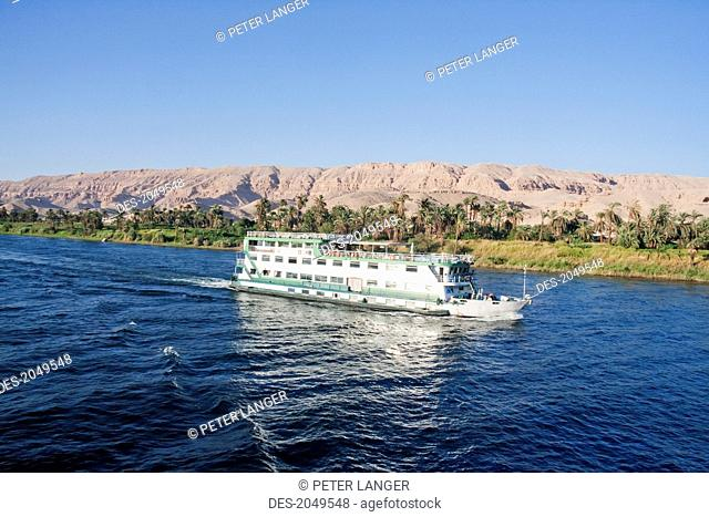 River Cruise Boat On The Nile River Between Isna And Luxor, Qina, Egypt