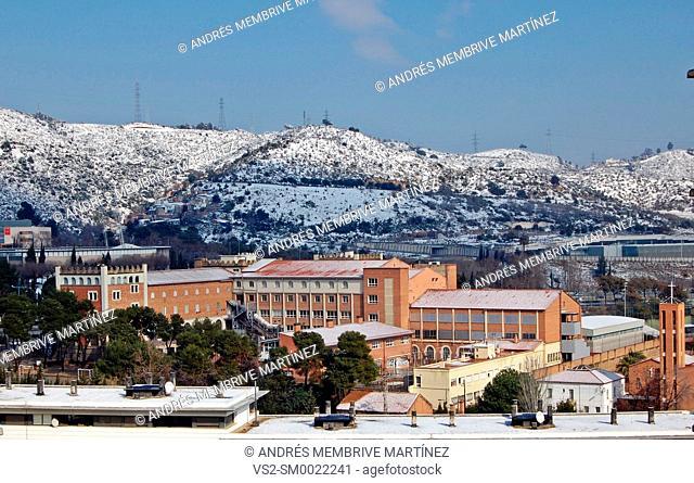 Landscape of snow in Serra de Collserola Mountains near Barcelona, Catalonia, Spain