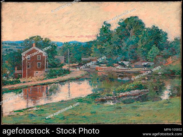 Evening at the Lock, Napanoch, New York. Artist: Theodore Robinson (1852-1896); Date: 1893; Medium: oil on canvas; Dimensions: 22 x 32 in. (55.9 x 81