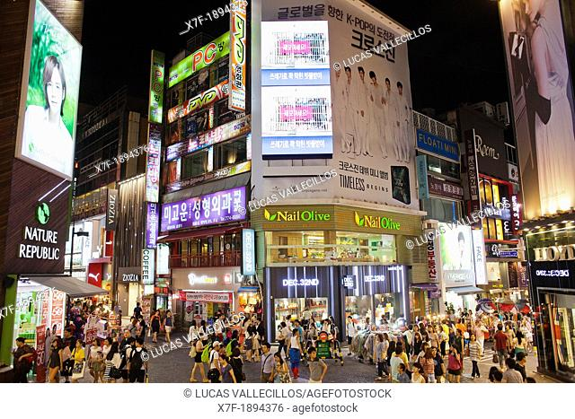 street scene in Myeongdong street, Myeongdong shopping district, Seoul, South Korea