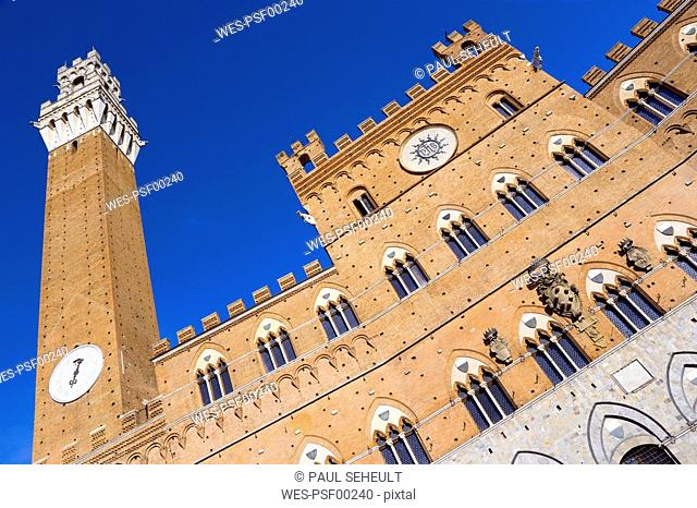 Italy, Tuscany, Palazzo Pubblico, low angle view