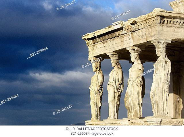 Cariathides of the Erechtheion. Acropolis, Athens. Greece