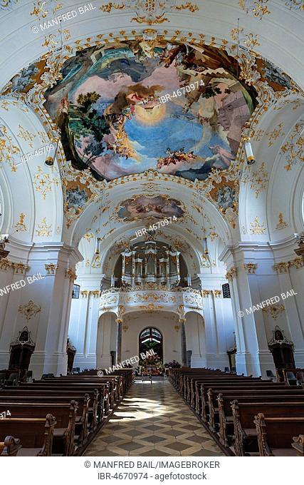 Organ gallery and ceiling frescoes, Schäftlarn Monastery, Upper Bavaria, Bavaria, Germany