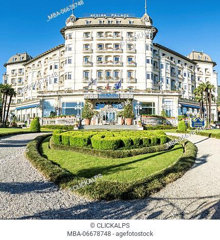 Stresa, Verbano-Cusio-Ossola, Piedmont, Italy. Regina palace hotel entrance
