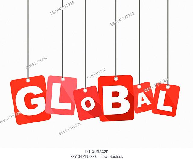Red vector flat design background global. It is well adapted for web design