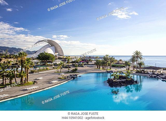 Auditorium, building, Calatrava, Canary Islands, Canaries, Santa Cruz de Tenerife, Santa Cruz, Tenerife, Teneriffa, architecture, auditorium, blue, coast