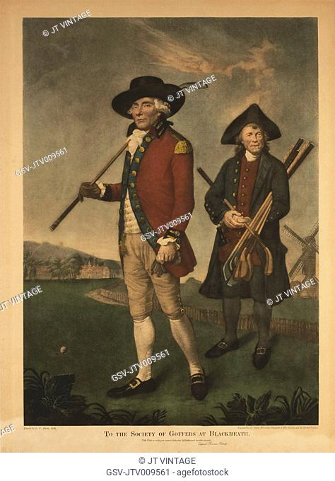 To the Society of Goffers at Blackheath, Portrait of Golfer and Caddie, Engraving by V. Green from an Original 1790 Painting by Lemuel Francis Abbott
