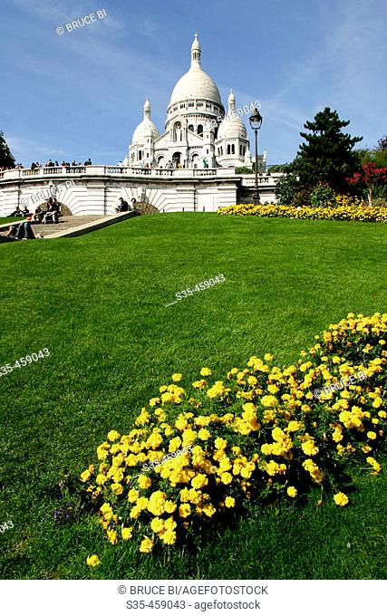 The Romano-Byzantine style church Sacre-Coeur on the hilltop of Montmartre, Paris, France