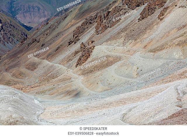 Dangerous serpentine road in Tien Shan mountains. Kyrgyzstan