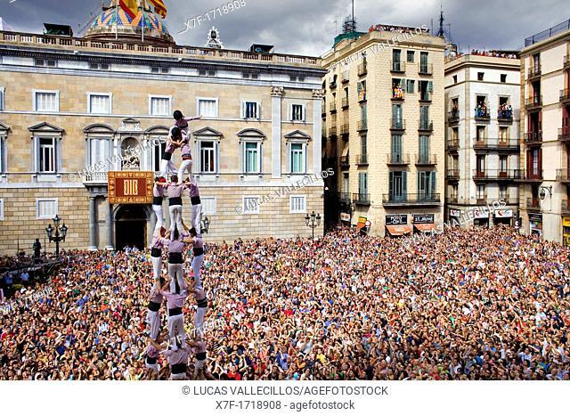 Minyons de Terrassa 'Castellers' building human tower, a Catalan tradition Festa de la Merçe, city festival  Plaça de Sant Jaume Barcelona, Spain