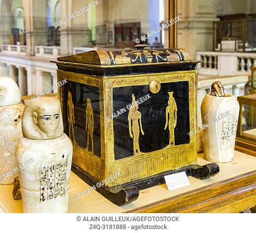 Egypt, Cairo, Egyptian Museum, from the tomb of Yuya and Thuya in Luxor : Canopic box of Thuya, with the 4 canopic vases