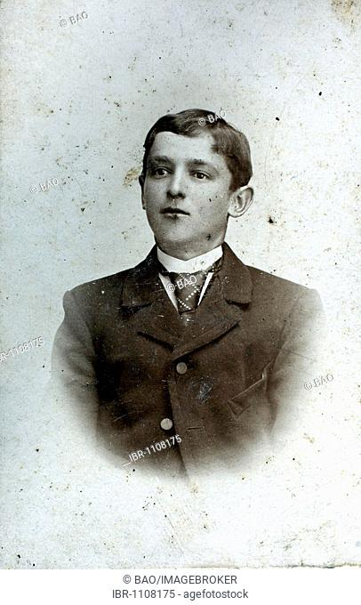 Historical photo, young man wearing a suit, 1903, Lower Bavaria