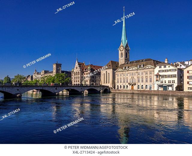 Frauenmunster Abbey and Stadthaus in Zurich, Switzerland, Europe