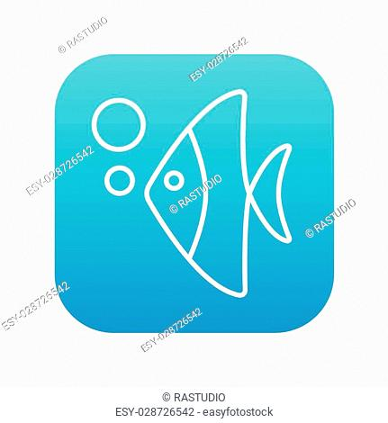 Fish under water line icon for web, mobile and infographics. Vector white icon on the blue gradient square with rounded corners isolated on white background