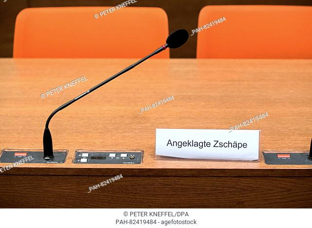 A sign reading 'Angeklagte Zschaepe' (lit. 'Defendant Zschaepe') can be seen at the court room of the upper regional court in Munich, Germany, 1 August 2016