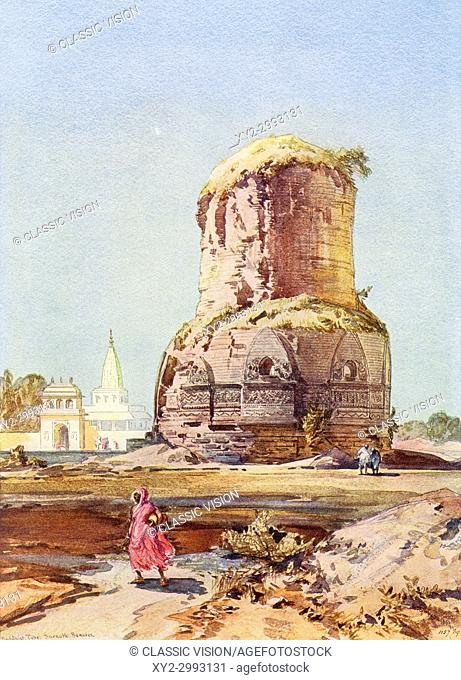 The Dhamek Stupa, Sarnath, Uttar Pradesh, India, seen here in the late 19th century. From The Wonders of the World, published c. 1920