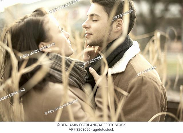 teenage couple in reed, nature, in love, in Cottbus, Brandenburg, Germany
