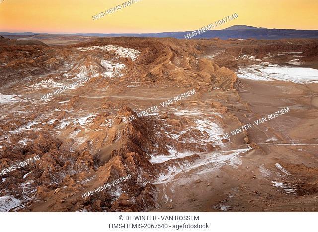 Chile, El Norte Grande, Antofagasta Region, Salar de Atacama, Valle de la Luna (Valley of the Moon), aerial view at dawn