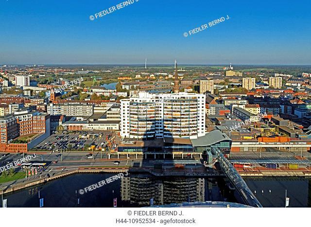 Europe, Germany, Bremen, Bremerhaven, am Strom, Columbus centre, old harbour, port, panorama, east, architecture, building, construction, harbour, port