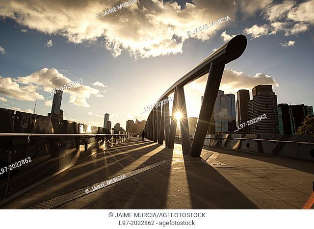 Pedestrain bridge from the MCG stadium to Birrarung Marr park, Melbourne Australia