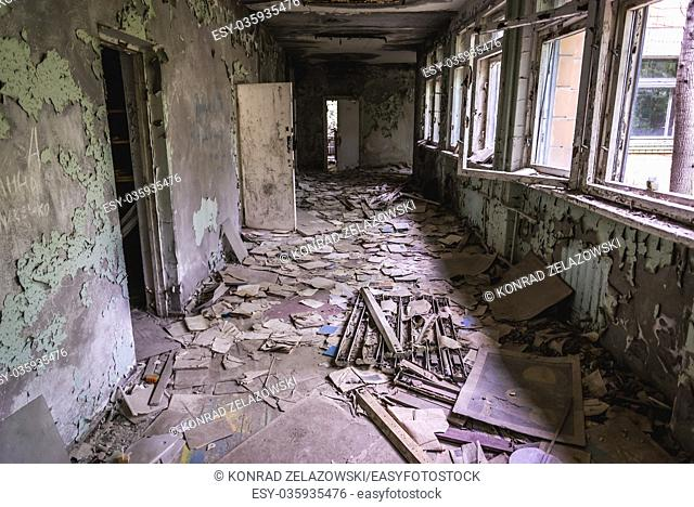 A lot of books on a corridor of High school No 3 in Pripyat ghost city of Chernobyl Nuclear Power Plant Zone of Alienation in Ukraine
