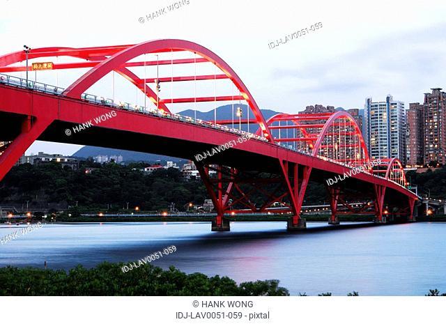 Bridge across a river, Guandu Bridge, Taipei, Taiwan