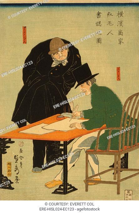 Dutch and German businessmen drafting a contract in a Yokohama mercantile house. 1861 Japanese woodcut by Sadahide Utagawa. BSLOC-2010-18-62