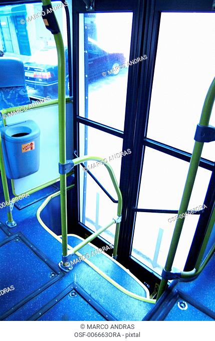 bus transportation commuting vehicle exit door